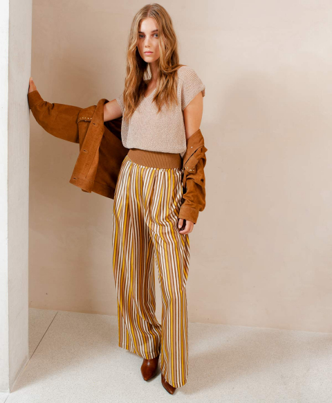 LANZAROTE TROUSERS IN PRINTED HABOTAI  CREAM/MUD BROWN