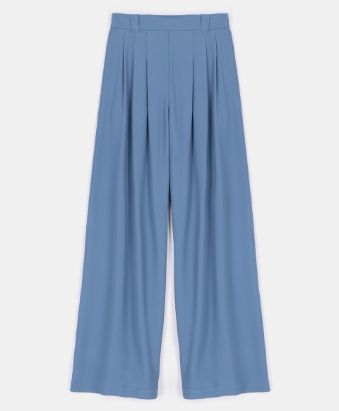 LANZAROTE TROUSERS IN SILK BLEND FABRIC SKY BLUE