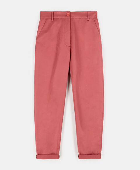 DIANA TROUSERS IN VISCOSE-LINEN-COTTON TWILL PINK