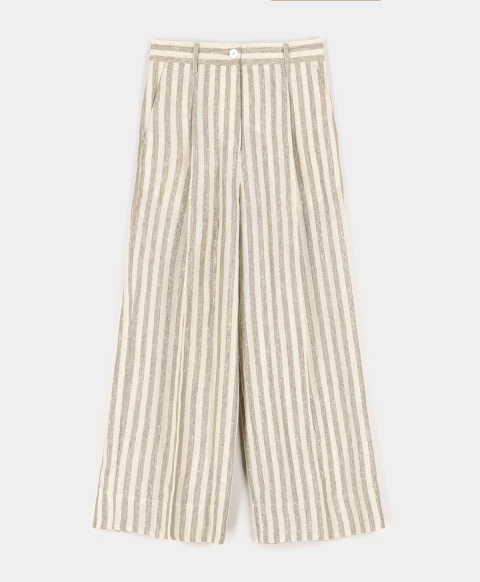 CHAMOIS TROUSERS IN LINEN WITH LUREX STRIPES  CREAM