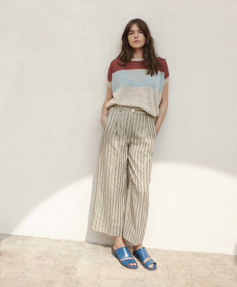 CHAMOIS TROUSERS IN LINEN WITH LUREX STRIPES  DUSTY GREY