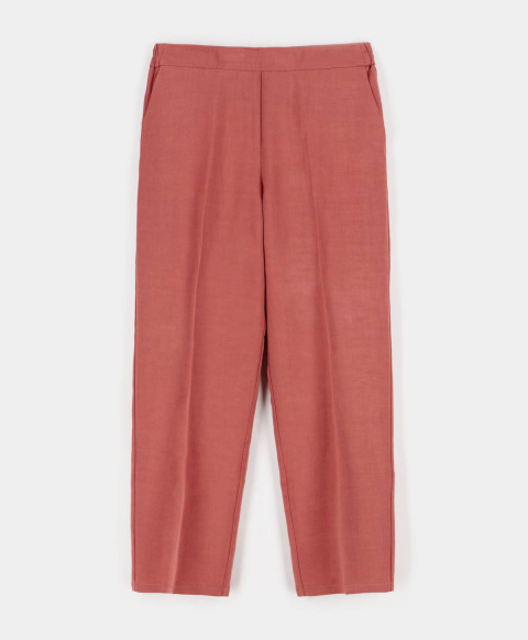 CASTANA TROUSERS IN VISCOSE LINEN ANCIENT PINK
