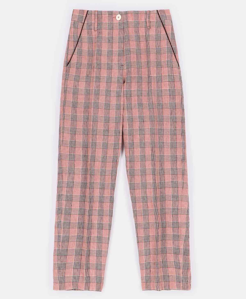 LIRA TROUSERS IN CHECK YARN-DYED LINEN  PINK