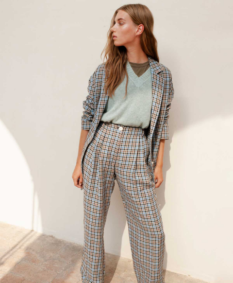 USTICA TROUSERS IN YARN-DYED LINEN  LIGHT BLUE/TOBACCO