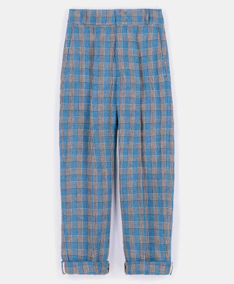 LIVORNO TROUSERS IN CHECK YARN-DYED LINEN  LIGHT BLUE