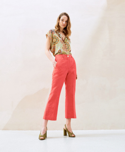 INDRA TROUSERS IN LINEN SILK PINK