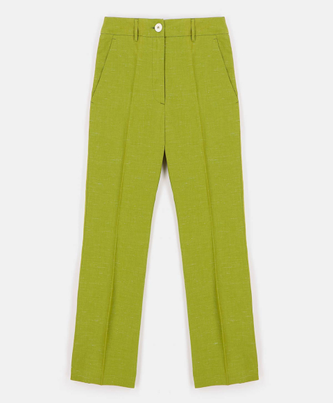 INDRA TROUSERS IN LINEN SILK  GREEN