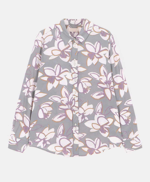 LECCE SHIRT IN PRINTED CREPE DE CHINE LIGHT GREY/IVORY