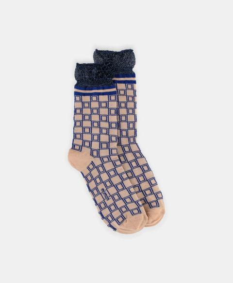SORESINA SOCKS IN LUREX JACQUARD PINK/BLUE