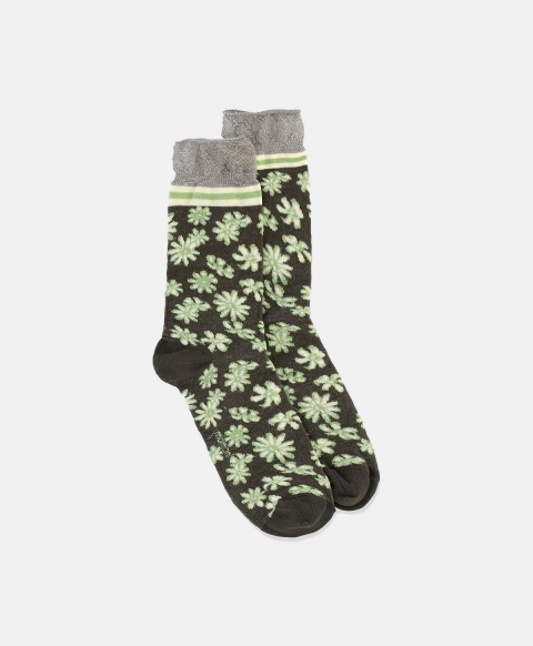 SORESINA SOCKS IN LUREX JACQUARD GREEN/CREAM