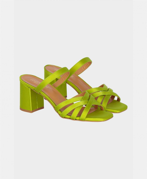 SORRENTO SHOES IN TEXTURED SATIN ACID GREEN