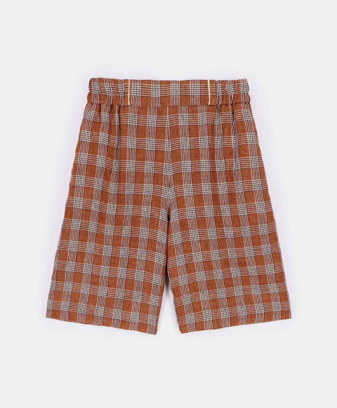 BIANCOSPINO SHORTS IN CHECK YARN-DYED LINEN  TOBACCO