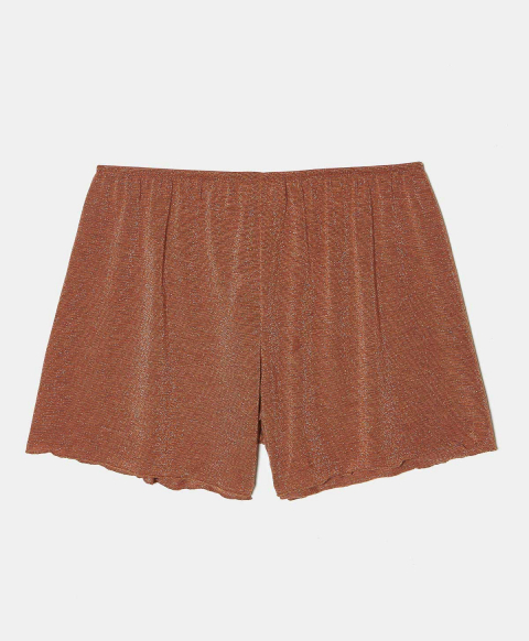 LICIA SHORTS IN LUREX JERSEY EARTHY BROWN