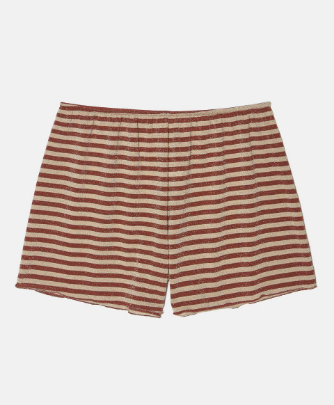 LICIA SHORTS IN LUREX JERSEY RUST/GOLD STRIPES