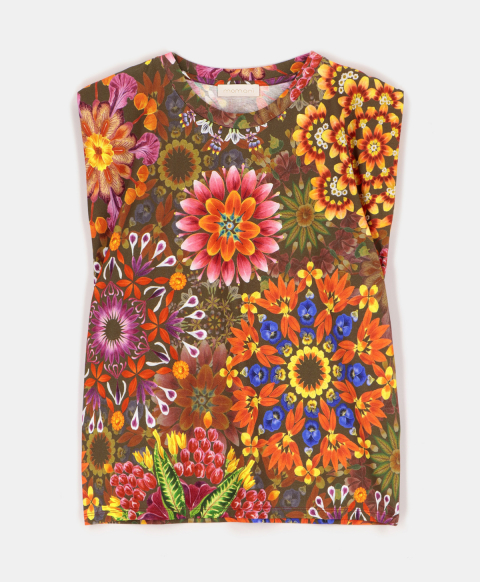 ENNA TOP IN PRINTED COTTON JERSEY MULTICOLOR GREEN