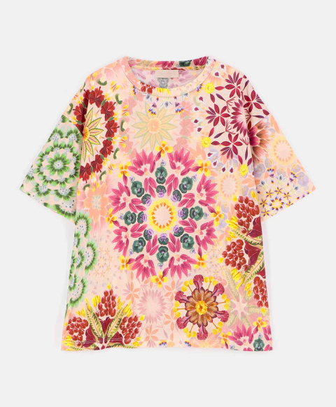 TERAMO T-SHIRT IN PRINTED COTTON JERSEY  MULTICOLOR PINK