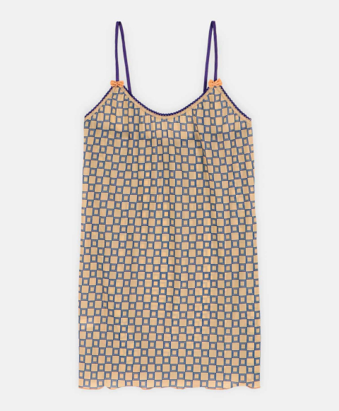 AIRELLE TOP IN PRINTED CHARMEUSE PINK/BLUE