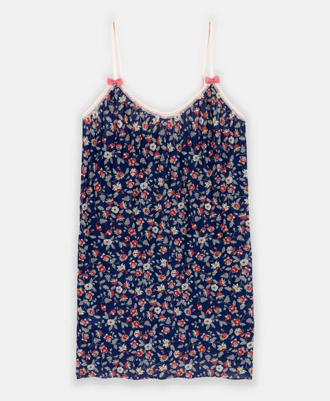 AIRELLE TOP IN PRINTED CHARMEUSE MULTICOLOR BLUE