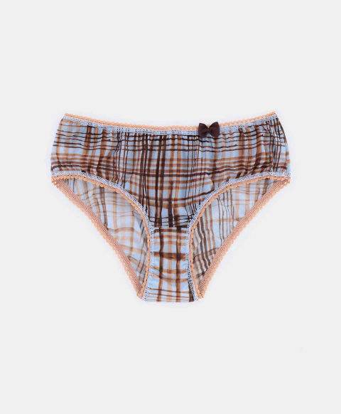 AMACA KNICKERS IN PRINTED CHARMEUSE LIGHT BLUE/BROWN