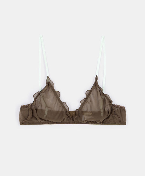 VIPERA BRA IN SOFT TULLE MESH ARMY GREEN