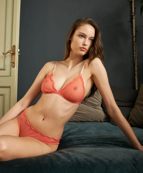 VESPA KNICKERS IN SOFT TULLE MESH CORAL