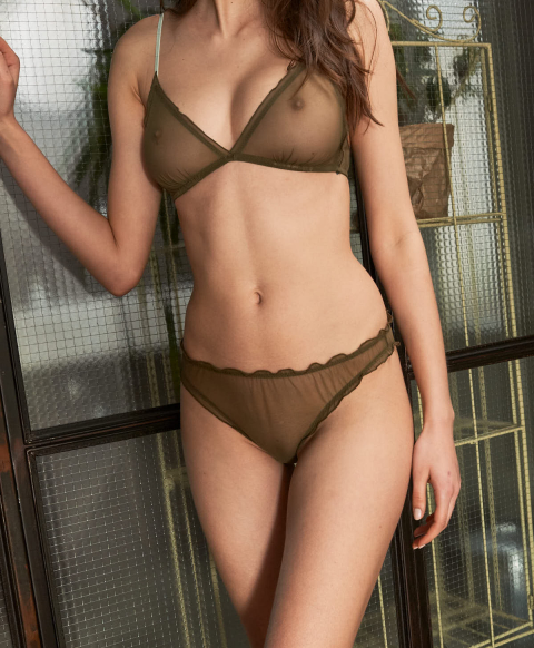 VESPA KNICKERS IN SOFT TULLE MESH ARMY GREEN