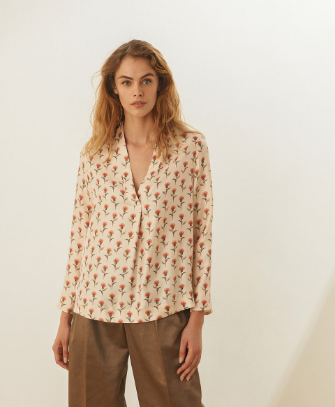 AMBROISE BLOUSE IN PRINTED TWILL - CREAM/PINK