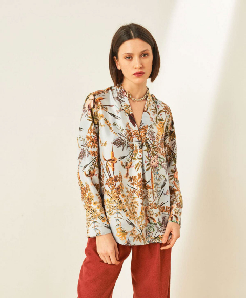 AMBROISE BLOUSE IN PRINTED TWILL - LIGHT BLUE/TOBACCO