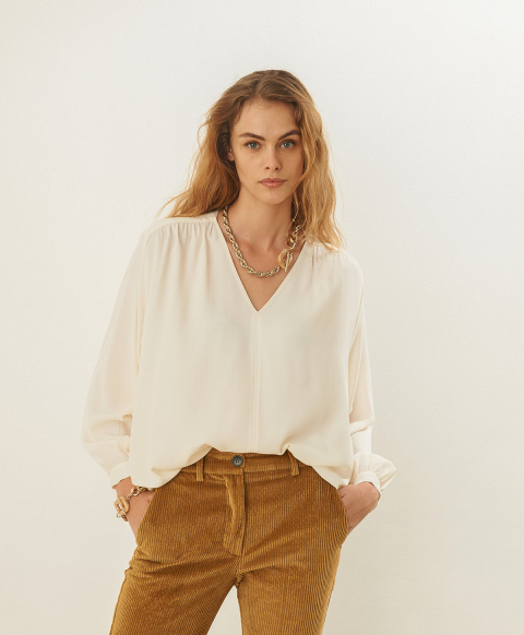 CLAMART BLOUSE IN SILK BLEND CREPE - WHITE