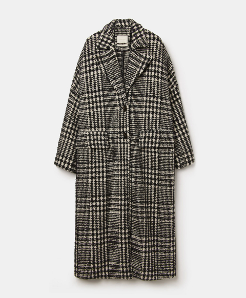 CHATEAUBRIANT COAT IN TWO-TONE CHECK WOOL - CREAM/BLACK
