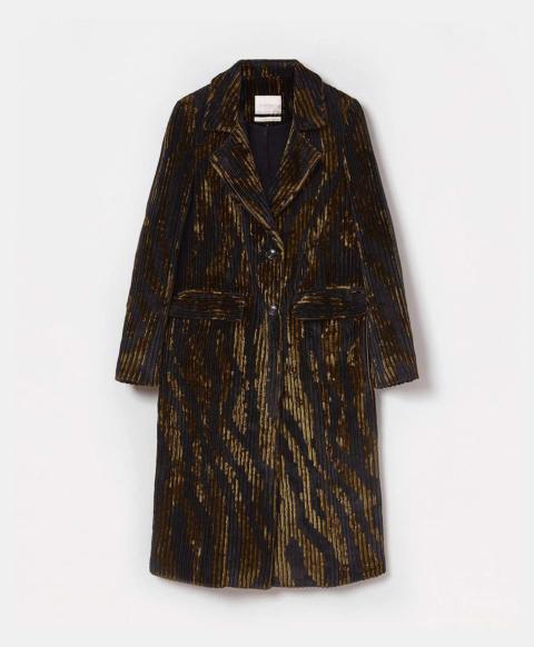 NARBONNE COAT IN VISCOSE JACQUARD CORDUROY - BLACK/BROWN
