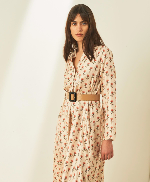 CANNES DRESS IN PRINTED SILK TWILL - CREAM/PINK