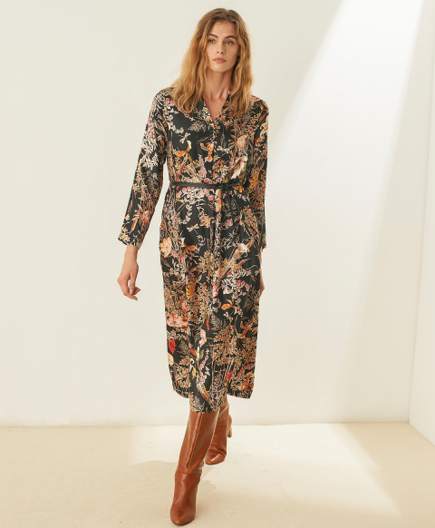 CANNES DRESS IN PRINTED SILK TWILL - BLACK/RED