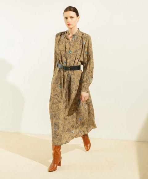 AIX DRESS IN PRINTED SILK CREPE DE CHINE - GREEN/BLUE