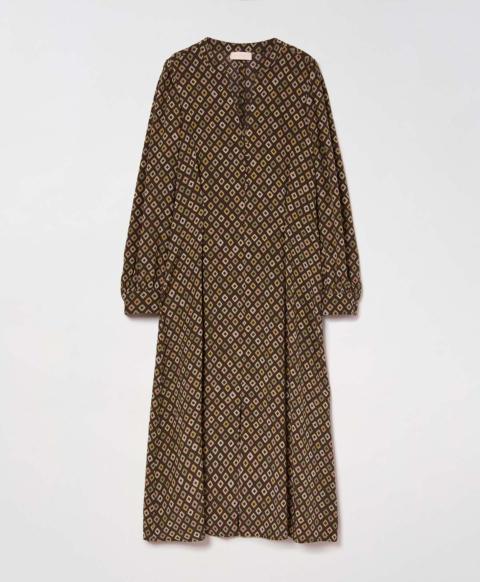 BASTIA DRESS IN PRINTED SILK CREPE DE CHINE - GREEN/CREAM