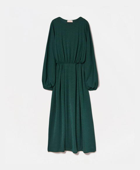 CHATILLON DRESS IN SOLID COLOUR LUREX STRETCH JERSEY - GREEN