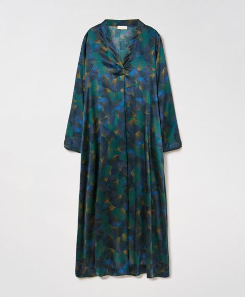 BIARRITZ DRESS IN PRINTED STRETCH SILK SATIN - GREEN/TEAL