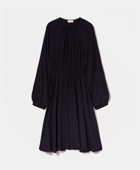 CAMBRAI DRESS IN SILK BLEND CREPE - BLACK