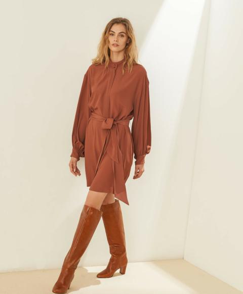 DAMIEN DRESS IN SILK BLEND CREPE - WINE RED