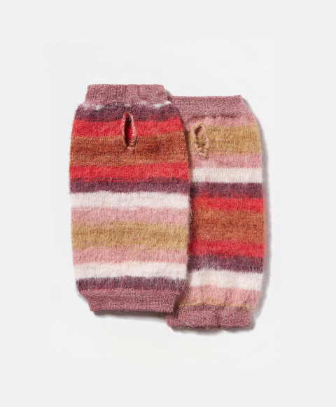 TARBES WRIST WARMERS IN MULTICOLOR ALPACA AND MOHAIR YARN  - MULTICOLOR PINK