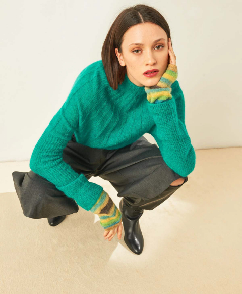 TARBES WRIST WARMERS IN MULTICOLOUR ALPACA AND MOHAIR YARN  - MULTICOLOR GREEN