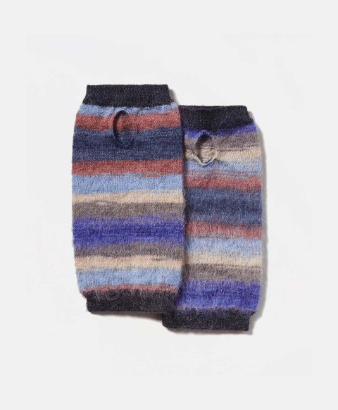 TARBES WRIST WARMERS IN MULTICOLOUR ALPACA AND MOHAIR YARN  - MULTICOLOR BLUE