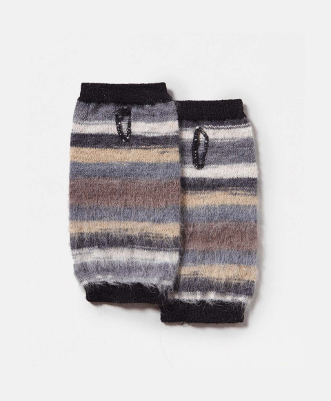 TARBES WRIST WARMERS IN MULTICOLOUR ALPACA AND MOHAIR YARN  - MULTICOLOR GRAY