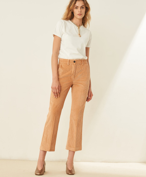 INDRA TROUSERS IN STRETCH  CORDUROY - POWDER PINK