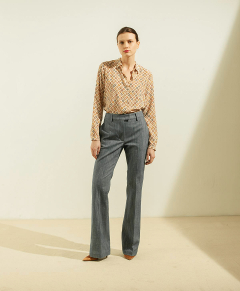 LIMOGES TROUSERS IN STRETCH DENIM - BLUE