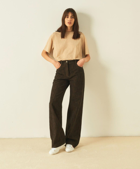 OLIVINA TROUSERS IN COTTON-WOOL BLEND DENIM - BROWN
