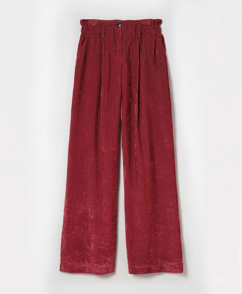MARMANDE TROUSERS IN SOFT VISCOSE CORDUROY - STRAWBERRY RED