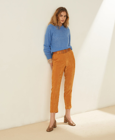 MULHOUSE TROUSERS IN SOFT VISCOSE CORDUROY - APRICOT