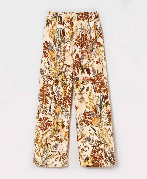 POITIERS TROUSERS IN PRINTED BRUSHED COTTON JERSEY - CREAM/GREEN