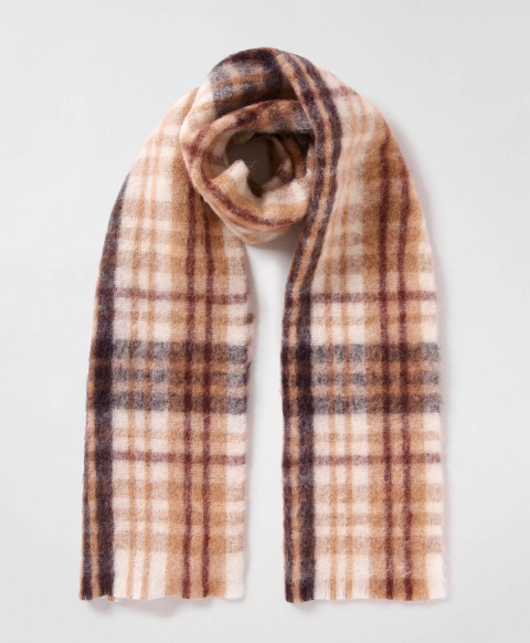 LE PORGE SCARF IN ALPACA AND MOHAIR VELOUR - MULTICOLOR/BURNT BROWN